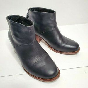 Toms 5 black leather Leila tassel zipper booties